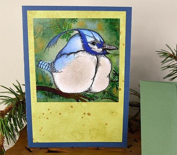 Blueberry bluebird greeting cardgreeting cardsblank etsy image 0 m4hsunfo