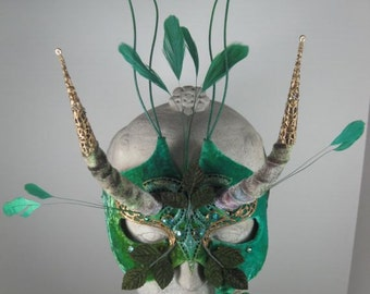 Green Forest Gnome Masquerade Mask