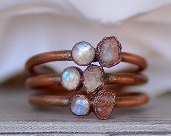 Raw Stone Crystal Ring Morganite Ring Copper Gemstone Jewelry Ring Size 6.5 Pink Morganite Ring Midwest Alchemy