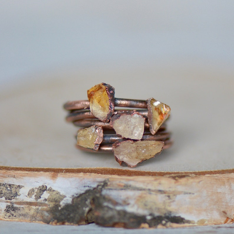 Citrine Ring Raw Stone Jewelry November Birthstone Ring Unique Gift for Her Electroformed Jewelry Stacking Ring Bohemian Ring