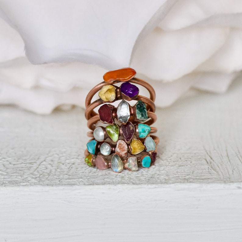 Stacking Ring Multi Stone Ring Family Tree Ring Birthstone Jewelry Raw Stone Ring Gift For Her Birthstone Ring Copper Jewelry