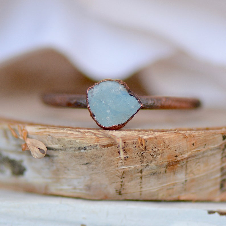 Raw Crystal Ring Aquamarine Ring Unique Gift for Her Electroformed Jewelry Stacking Ring March Birthstone Ring Blue Ring Boho Ring