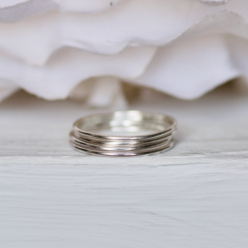 Thin Silver Ring Minimal Jewelry Gift for Best Friends Boho Jewelry Smooth Ring Bridal Gift Silver Stacking Ring Knuckle Ring