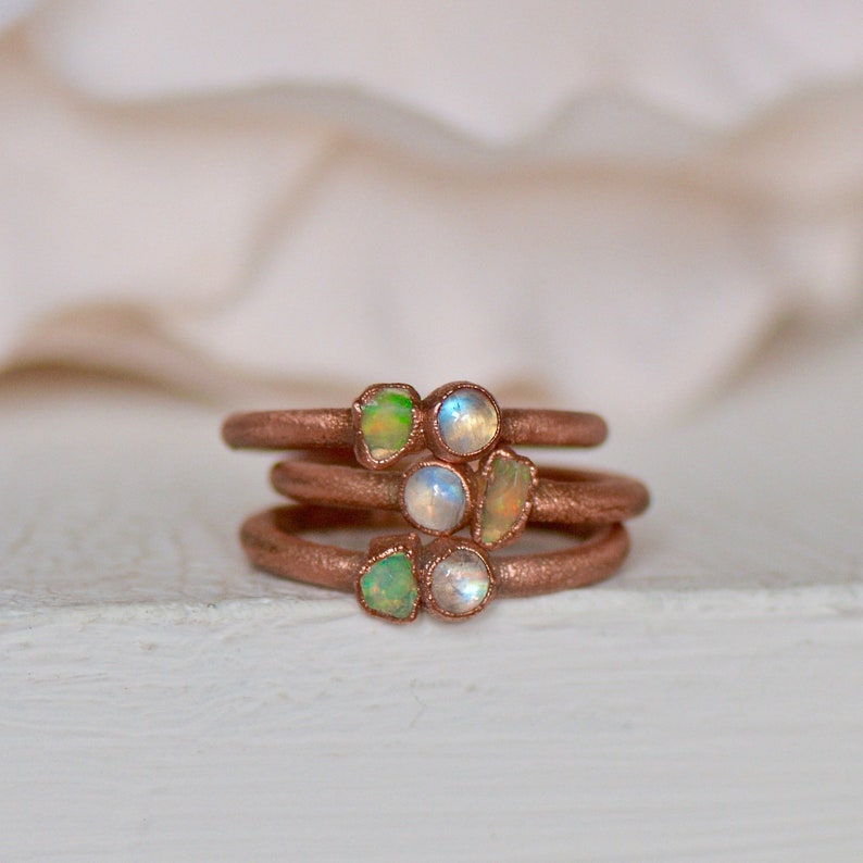 Opal Moonstone Ring Boho Jewelry Raw Gemstone Ring Stacking Ring for Her Unique Gift for Her Rainbow Moonstone Electroformed Ring