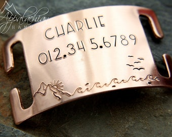 Pet Dog Collar, ID Tag, Mountain, Lake, Slide On, Hand Stamped, Noiseless, Silent, Slip On, Custom Pet Identification Tag, Microchipped, ECI