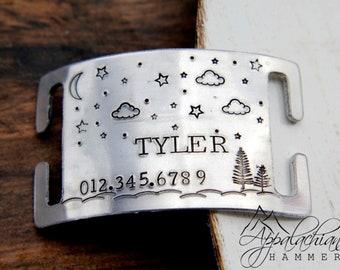 Pet Collar ID Tag, Nature Dog Tag, Night Sky, Moon, Celestial, Hand Stamped, Noiseless, Silent, Slide On, Slip On, Custom Pet Identification