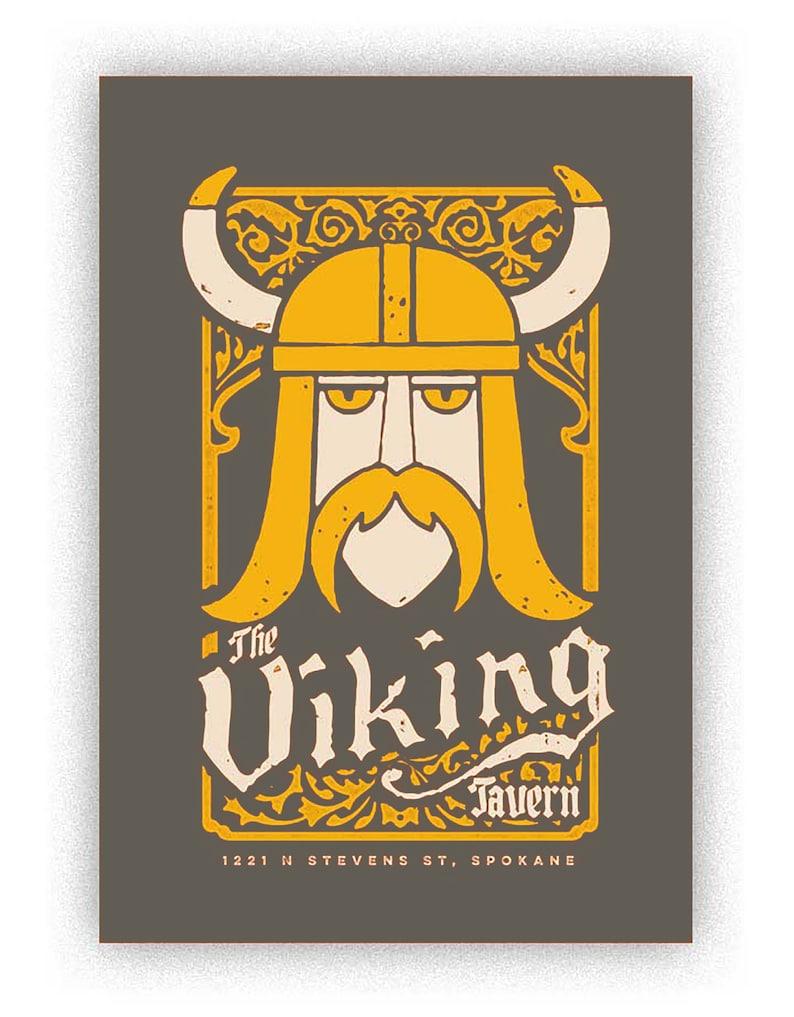 Grey Viking handmade screenprint image 0