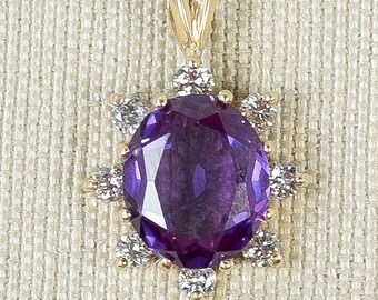 Feminine Bright 14K Yellow Gold 4.33ctw Oval Created Vibrant Purple Blue Sapphire Gemstone & Natural Diamond Cluster Pendant FREE SHIPPING!