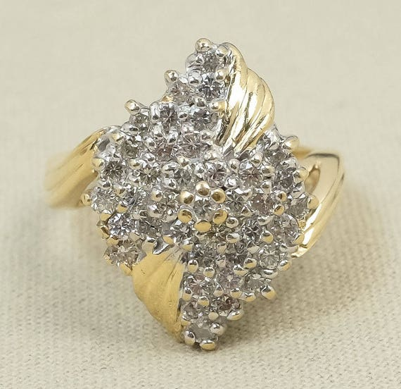 ea5e59165d641 Sparkling Fun 14K Yellow Gold 1.25ctw Round Diamond Elongated Waterfall  Cluster Cocktail Ring Size 6.25 FREE SHIPPING! HS-2017-1361