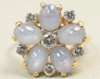 Gorgeous Antique 14K Yellow Gold Star Moonstone Gemstone & Diamond Round Flower Cluster Cocktail Ring FREE SHIPPING! HS-2380