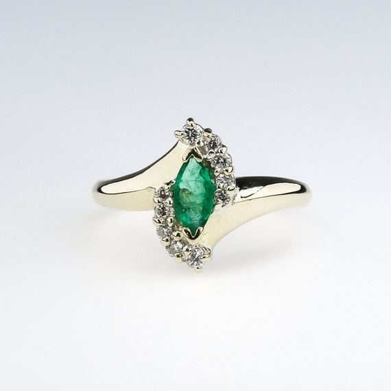 marquise cut emerald, natural emerald ring, emera… - image 1