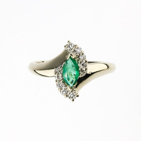 marquise cut emerald, natural emerald ring, emera… - image 3