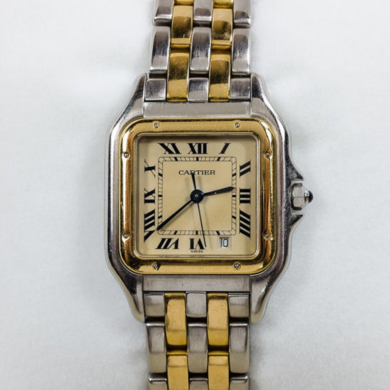 4ea79c3d5ff02 Vintage Cartier Panthere Stainless   18K Yellow Gold Roman