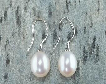 14K White Gold 9mm Wide Freshwater Pearl Dangle Drop Fishhook Pierced Earrings