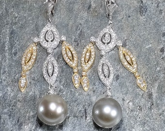 14K Two Tone Gold Pearl & Diamond Accented Dangle Lever-back Earrings 13.0 grams