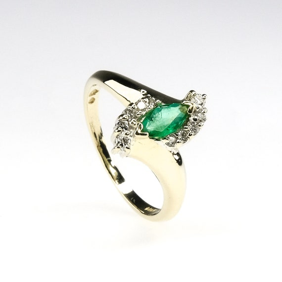 marquise cut emerald, natural emerald ring, emera… - image 4