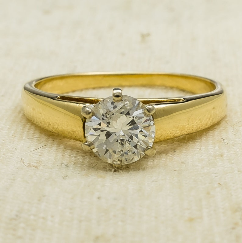 1197b896e158d Classic Flattering 14K Yellow Gold 1.00ct Round Cut I1/I Natural Diamond  Solitaire Engagement Ring Size 9 - 4.3 grams FREE SHIPPING!