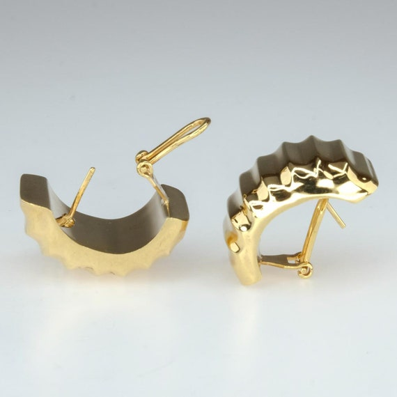 Half Hoop Fluted Statement Earrings with Omega Ba… - image 2