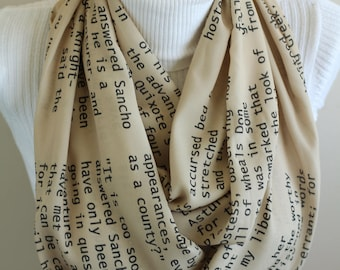 Don Quixote Scarf Don Quixote Book Infinity Scarf Literature Scarf Literature Lover Gift Ideas Novel Sancho Panza Accessories