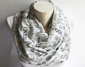 Science Infinity Scarf Chemistry Scarf Molecule Dna Print Graduation Party Science Teacher Geeky Gift Coworker Gift Graduation Gift