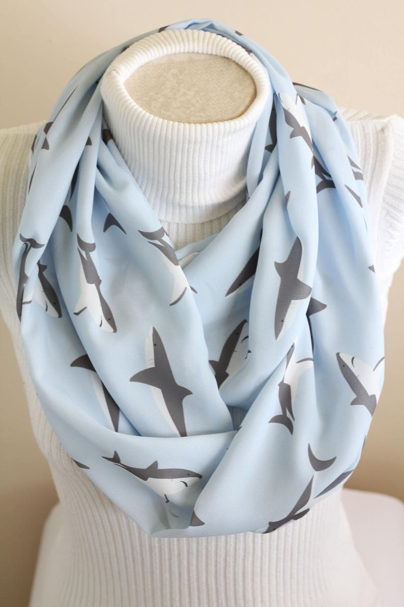 image 0 ... & Shark Scarf Shark Gifts for Women Mama Shark Infinity Scarf | Etsy