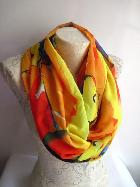 c16945d6d35 Coloré aquarelle infini foulard écharpe jaune mode foulards