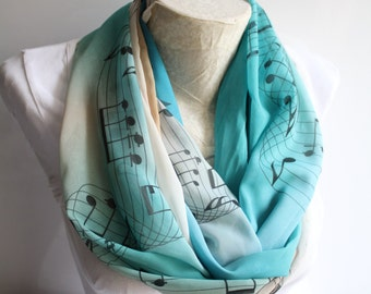 Music Scarf, Music Gift - Hamilton Musical Gifts Music Festival Outfit Music Notes Music Teacher Gift Music Accessories