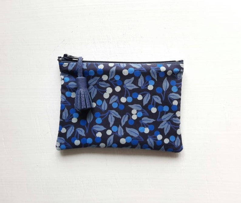Mini Liberty Cherry Drop blueberry fabric pouch image 0