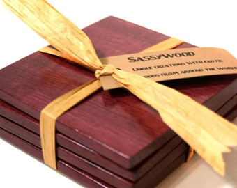 Purpleheart Wood Coaster Set of 4 - Free Shipping in US
