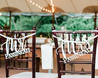 Mr And Mrs Chair Signs   Custom Mr & Mrs   Last Name   Wedding Chair Signs   Rustic Wedding   Mr and Mrs Signs   Chair Signs   Wood   Decor