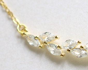Bridesmaids Bracelet   Dainty Bracelet   Crystal Bracelet   Delicate Leaf Bracelet   Wedding Bracelet   Bridesmaid Gift   Bride Bracelet
