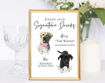Custom Pet Signature Drink Sign   Your Pet   Custom Sign   Wedding Decor   Digital Download   Bridal Shower   Watercolor Pet Photo