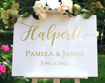 "White Acrylic Wedding Welcome Sign   18"" x 24"" Welcome White Acrylic Sign   Custom White Acrylic Welcome Sign"