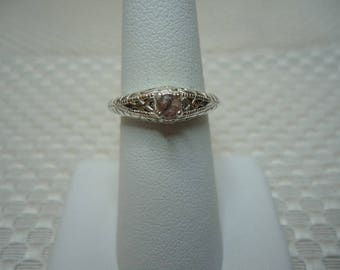 Round Cut Pink Ceylon Sapphire Ring in Sterling Silver  #2075