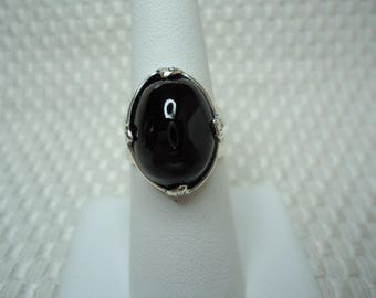Oval Cabochon Cut Black Spinel Ring in Sterling Silver  #2041