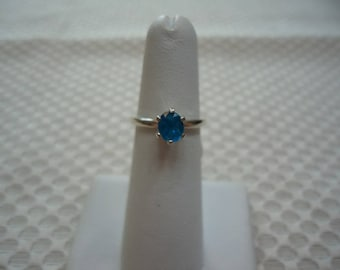 Oval Cut Neon Blue Apatite Ring in Sterling Silver  #2023