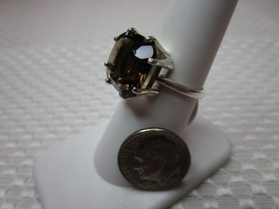 Cushion Cut Smoky Quartz Ring in Sterling Silver  #2535