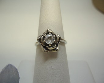 White Zircon Rose Ring in Sterling Silver   #344
