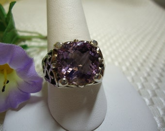 Cushion cut Checkerboard Faceted Amethyst Ring in Sterling Silver   #547