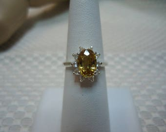 Oval Cut Yellow Zircon and White Topaz Ring in Sterling Silver  #2111