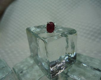 Oval Cut Red Songea Sapphire Tie Tack in Sterling Silver  #2157