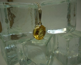 Oval Cut Citrine Necklace in Sterling Silver  #1045