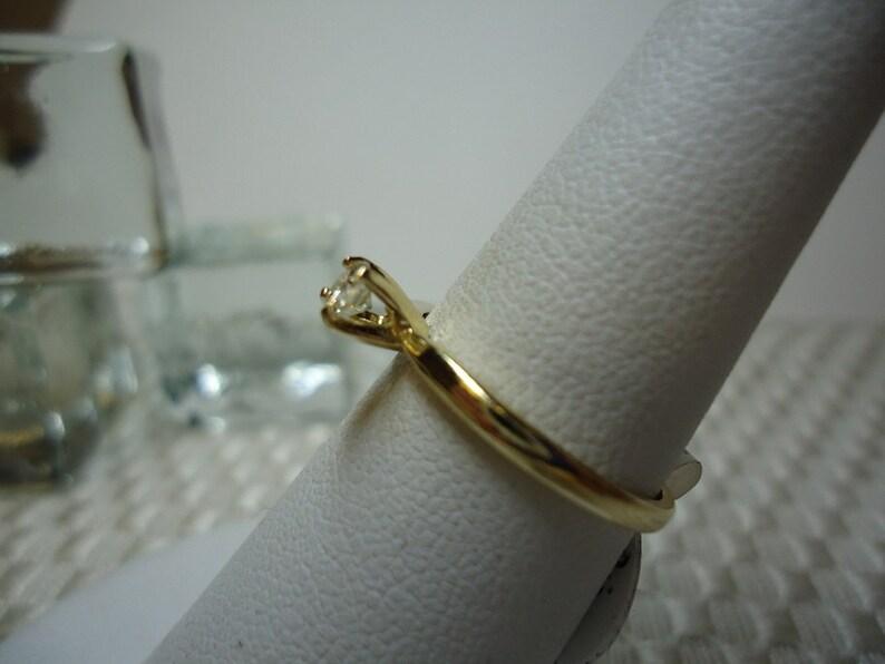 Round Cut White Diamond Ring in 14 karat Yellow Gold   #1179