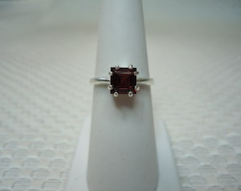 Princess Cut Spessartite Garnet Ring in Sterling Silver  #2274