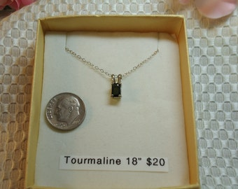 Emerald cut Tourmaline necklace in Sterling Silver, 18 inch chain   #64