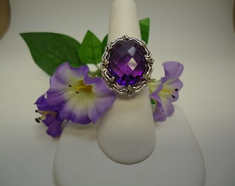 Checkerboard Amethyst Ring in Sterling Silver  #265