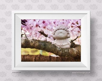Buddhek - Blossom Tree. Happy Little Buddha Smiling on the Colourful Blossom Tree. Positive Mood, Soft Colours