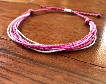 Breast Cancer Awareness Surfer Waxed Polyester Bracelet; perfect for layering or stacking