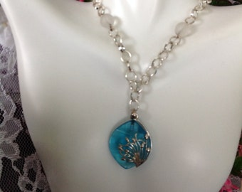 GLASS NECKLACE - BLUE Glass Wth Silver Flower Wrapped Necklace With Opaque Sea Glass Beads