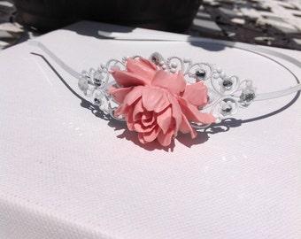 WEDDING Hair Accessory, Headband, Flower Girl, Bridesmaid, White Headband, Mauve and Rhinestone Headband